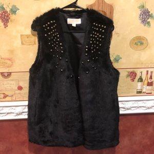 Michael Kors black studded faux fur vest